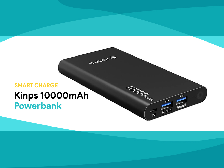 Kinps 10000mAh Powerbank – Smart Charge a portata di tutti